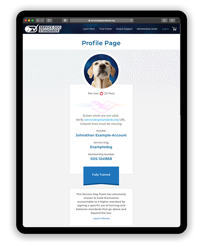 Example of a Service Dog Handler profile page on Service Dog Standards