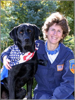 Jake and Mary Flood, his handler.